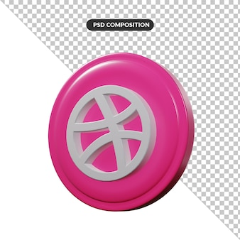 Aplicativo de logotipo de renderização 3d drible isolado