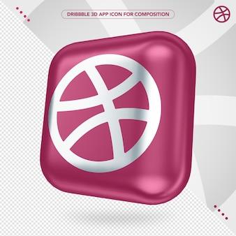 Aplicativo dribbble 3d girado