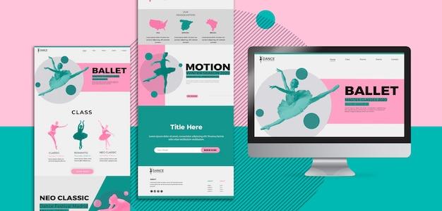 Aplicativo e site de modelo de página de destino de dança