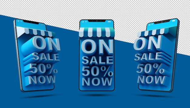 Aplicativo móvel de compras online em renderização 3d