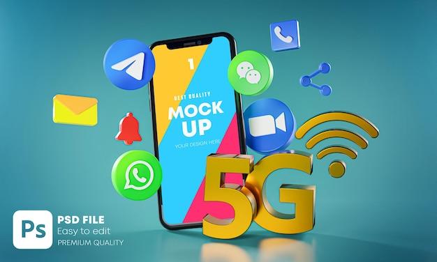 Aplicativos de comunicação de mensagens mais populares com mockup de telefones