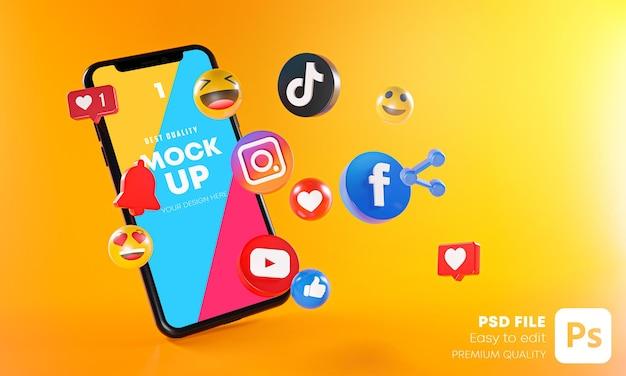 Aplicativos de mídia social mais populares com simulação de telefones