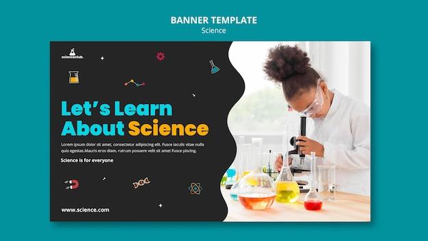 Aprenda modelo de banner de ciências