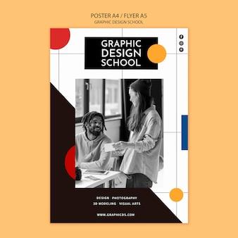 Aprenda modelo de folheto de design gráfico