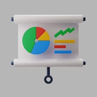 Apresentação 3d com gráfico de pizza e estatísticas