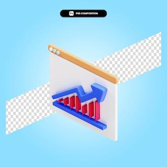 Apresentação com gráfico de pizza e estatísticas ilustração 3d render isolada