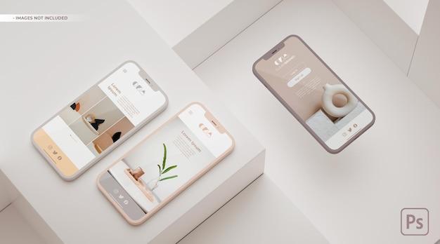 Apresentação de aparência do aplicativo em maquete de três telefones.