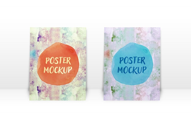Apresentação de mock-up design de cartaz inclinado