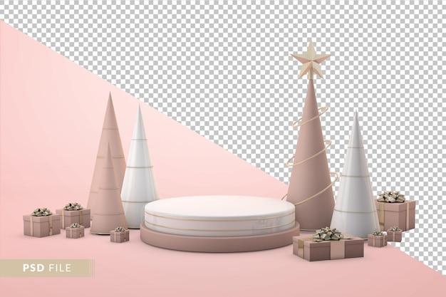 Apresentação de natal de luxo com pódio 3d e caixas de presente realistas