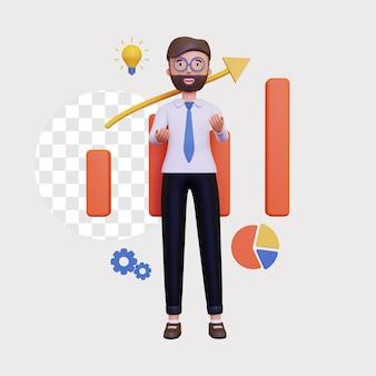 Apresentação de negócios em 3d com gráfico