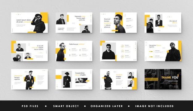 Apresentação de negócios minimalista em amarelo e branco slide power point landing page keynote