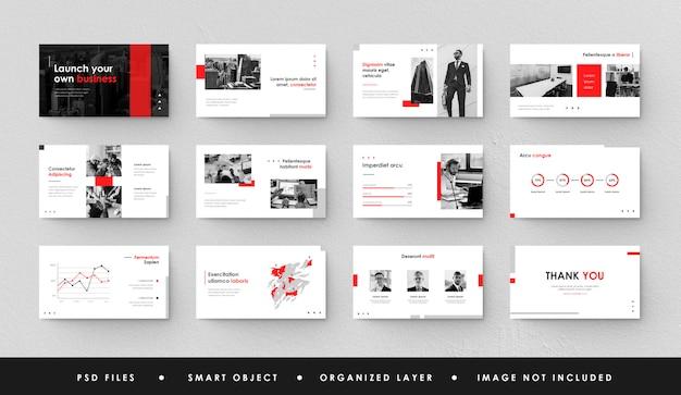 Apresentação de negócios minimalista em vermelho e branco slide power point landing page keynote