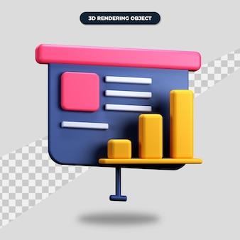 Apresentação de renderização 3d com ícone de gráfico de barras Psd Premium