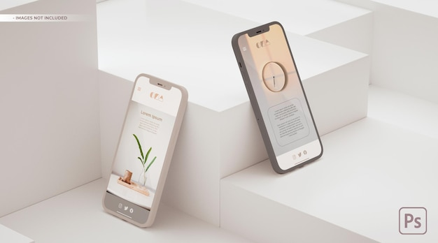 Apresentação do conceito de ui ux do aplicativo em maquete de dois telefones