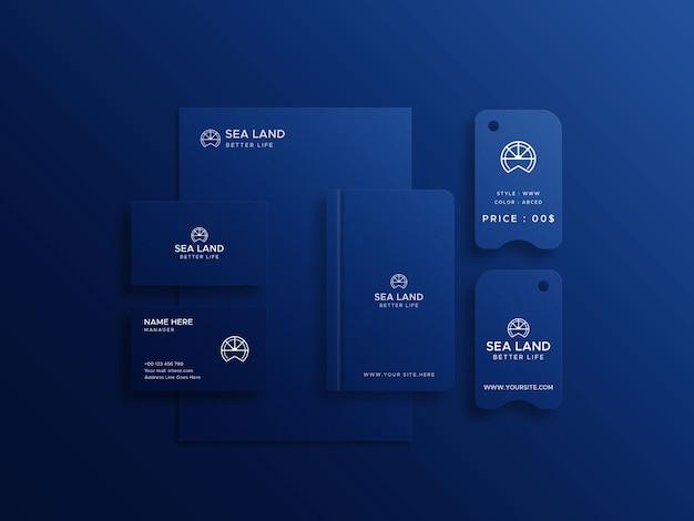 Apresentação do logotipo do blue stationery mockup