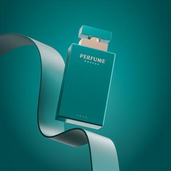 Apresentação em 3d do logotipo do perfume de luxo.