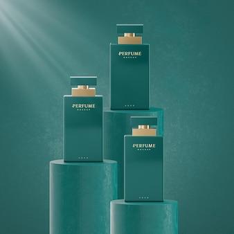 Apresentação em 3d do logotipo do perfume verde de luxo.
