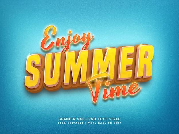 Aproveite o horário de verão editável 3d texto colorido estilo efeito psd