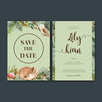 Aquarela de convite de casamento com tema em tons frios de floresta