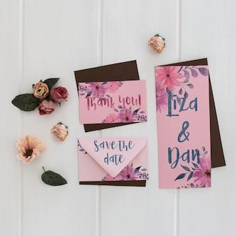 Aquarela de convite de casamento floral maquete