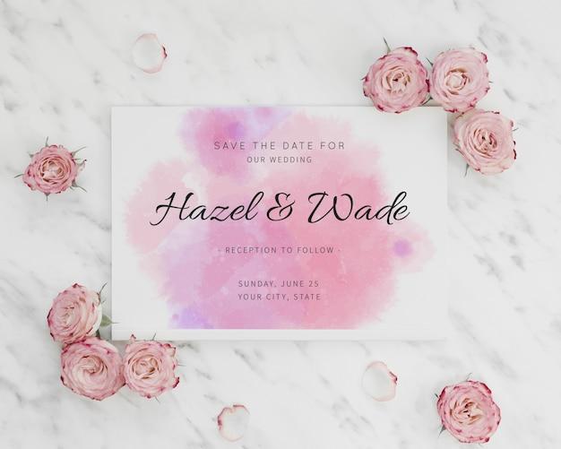 Aquarela salvar o convite de data e rosas