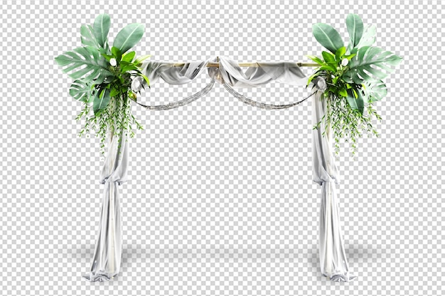 Arco de casamento em renderização 3d isolado