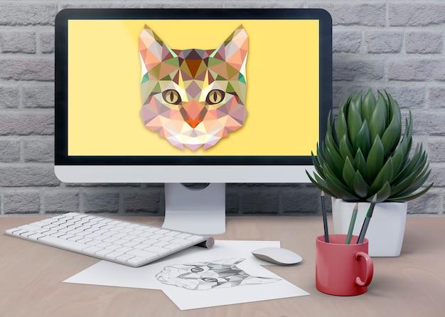 Área de trabalho com monitor digital