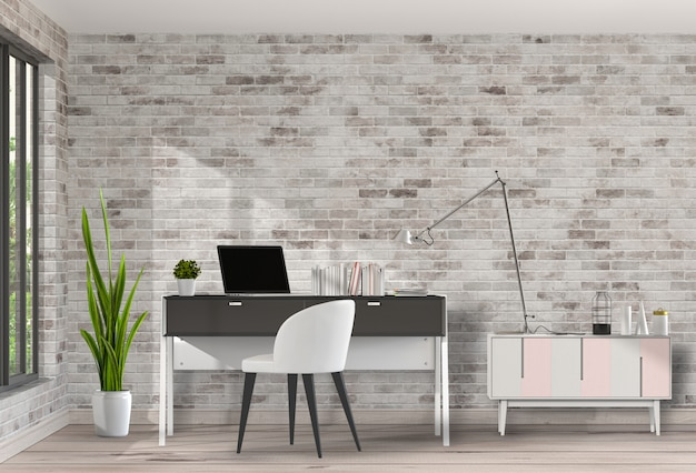 Área de trabalho moderna sala de estar com mesa e computador portátil