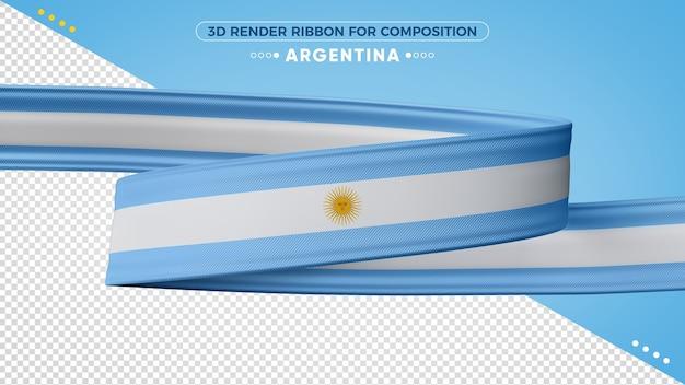 Argentina fita de renderização em 3d para composição Psd Premium