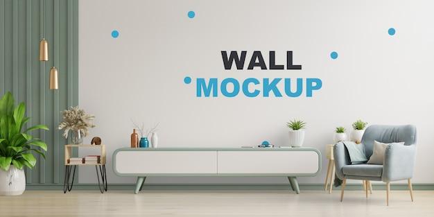 Armário de tv na moderna sala de estar, interior de uma luminosa sala de estar com poltrona na parede branca vazia. renderização 3d