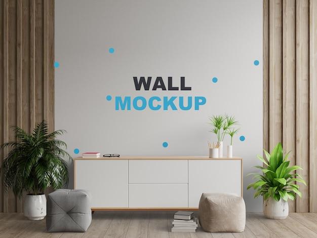 Armários e parede para tv na sala, paredes brancas, renderização em 3d