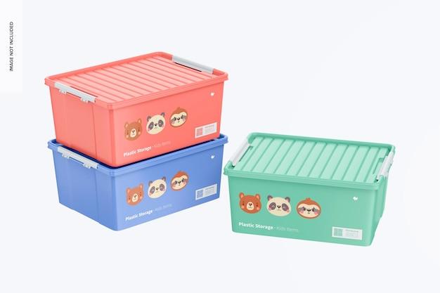 Armazenamento de plástico com maquete de alças de travamento
