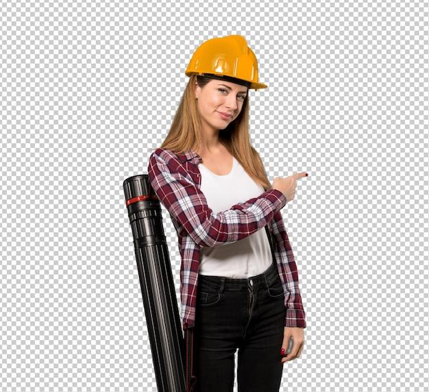 Arquiteta, mulher, apontar, costas
