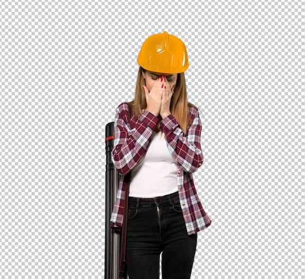 Arquiteta, mulher, com, cansado, e, expressão doente