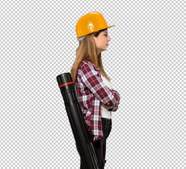 Arquiteta, mulher, em, posição lateral