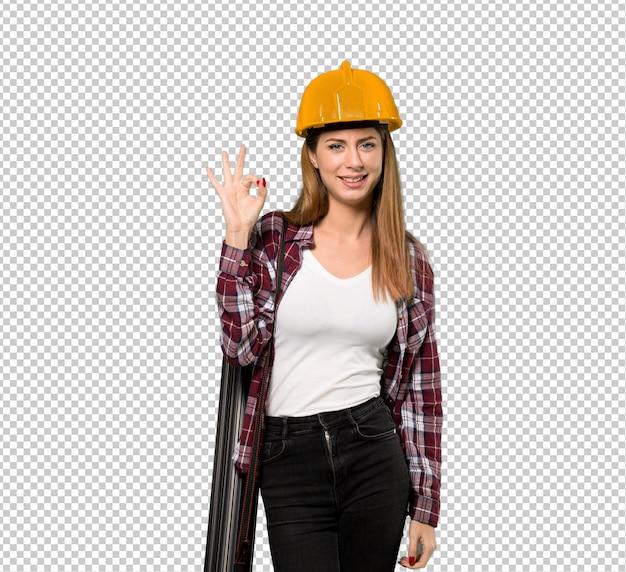 Arquiteta, mulher, mostrando, tá bom sinal, com, dedos