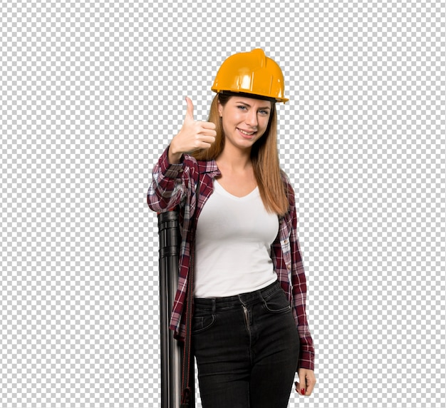Arquiteto mulher com polegares para cima porque algo de bom aconteceu