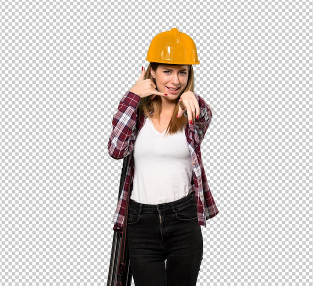 Arquiteto mulher fazendo gesto de telefone e apontando a frente