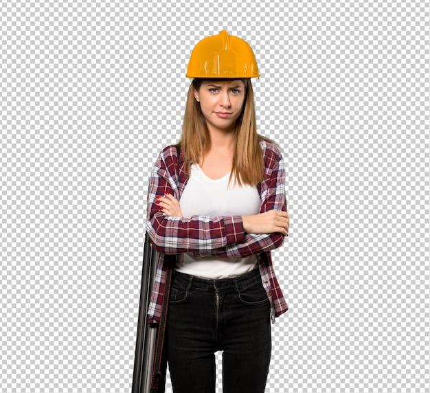 Arquiteto mulher sentindo chateado