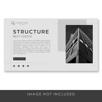 Arquitetura da página de destino do banner com modelo limpo