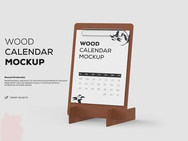 Arquivo psd de maquete de calendário de madeira