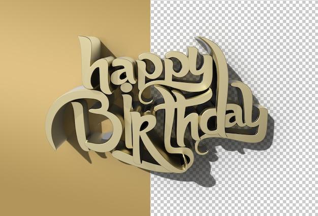Arquivo psd transparente de texto 3d de feliz aniversário em metal