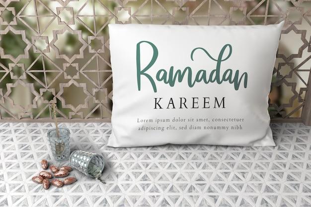 Arranjo árabe ano novo com datas e travesseiro