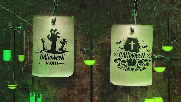 Arranjo assustador com luz de neon verde