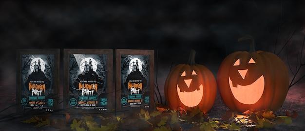 Arranjo assustador de halloween com cartazes de filmes