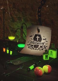 Arranjo assustador de halloween com luz verde