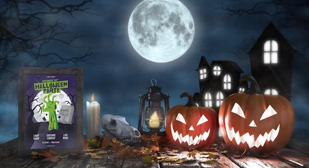 Arranjo assustador de halloween com poster do filme