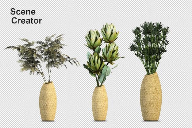 Arranjo de arbustos em vários tipos de flores