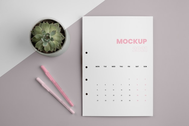 Arranjo de calendário de mock-up minimalista