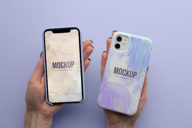 Arranjo de capas de celular de mock-up